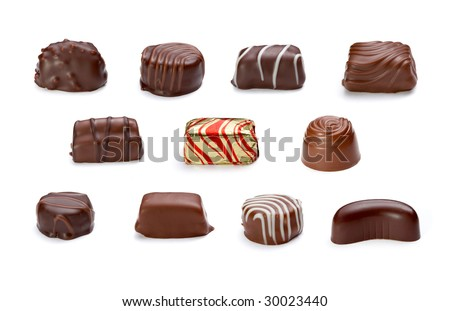 still life of chocolate praline on white background . each one is in the full cameras resolution - stock photo