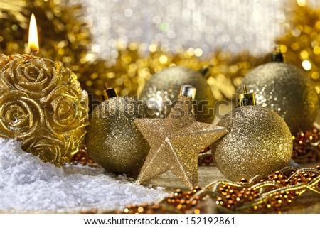 Still life of Christmas decorations - stock photo