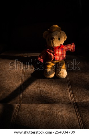 still life of cowboy bear on vintage leather - stock photo