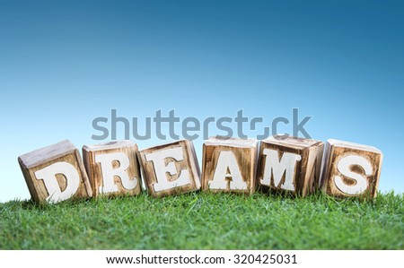 still life of DREAMS sign concept made of wooden blocks on a green grass with blue sky background - stock photo