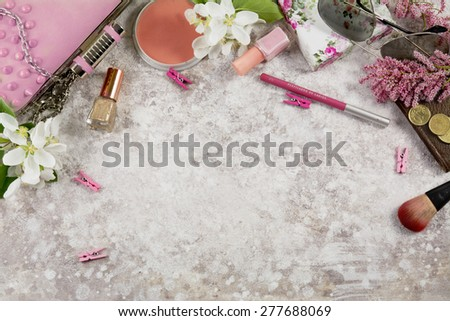 Still life of fashion woman. Feminine fashion cosmetic objects and background - stock photo
