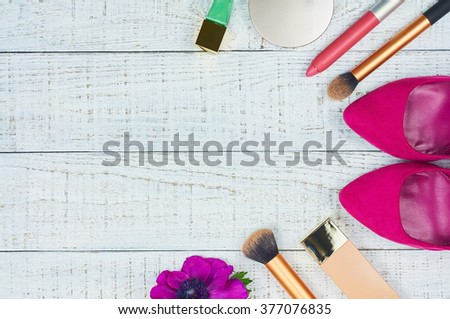 Still life of fashion woman. Modern female accessories. Feminine cosmetic background. Overhead of essentials fashion women objects. Top view - stock photo