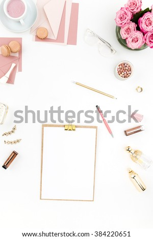 Still life of fashion woman, objects on white - stock photo