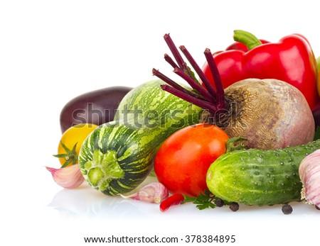 Still life of fresh juicy vegetable. Isolated on white background - stock photo