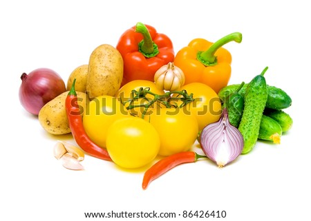 still life of fresh vegetables on white background close-up