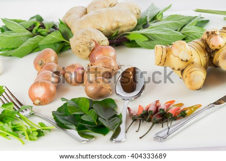 still life of garlic onion pepper and spice isolated on white background - stock photo