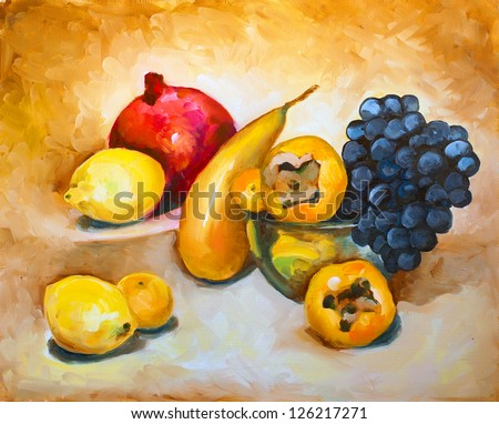 still life of grapes, persimmons, lemons and mandarins on a brown background in a glass vase painted with oil paints on canvas - stock photo