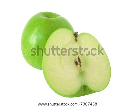 Still life of green apples on white background