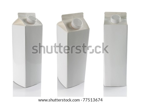 still life of milk boxes in some different angle isolated over white - stock photo