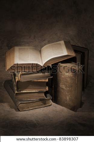 Still life of old antique books.