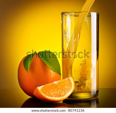 Still life of orange pouring juice and fruits - stock photo