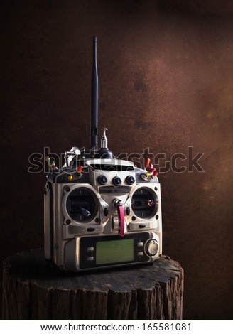 still life of remote control (RC) for helicopters and airplanes - stock photo