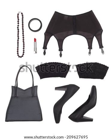 Still life of sexual woman. Women's accessories in black tones. Overhead view. - stock photo