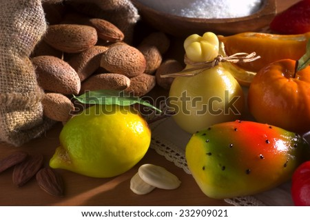 Still-life of sweet marzipan almond fruit. - stock photo