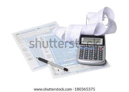 Still life of tax forms and paperwork preparation on white background - stock photo