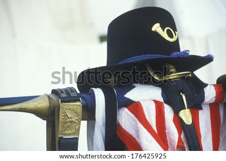 Still life of uniform and American Flag from site of Battle of Manassas, marking beginning of Civil War - stock photo