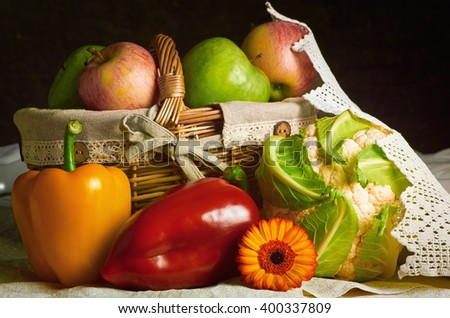 Still Life of Vegetables and Fruits - stock photo