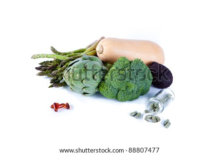 Still life of Vegetables and Vitamins  Isolated on White! - stock photo