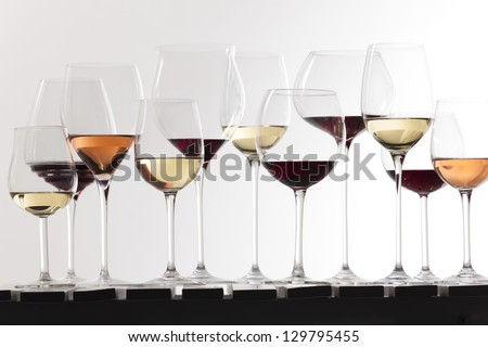 still life of wine glasses with wine - stock photo