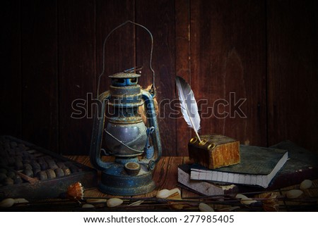 still life old lamp  - stock photo