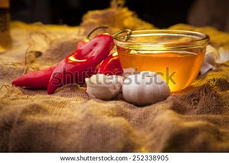 Still life on sackcloth, warm, homemade recipe.  Snack. - stock photo