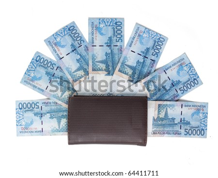 still life photo of wallet and money over white background - stock photo