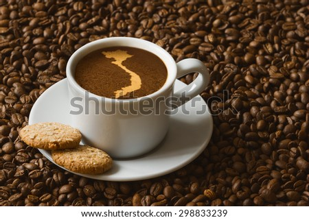 Still life photography of hot coffee beverage with map of Vietnam