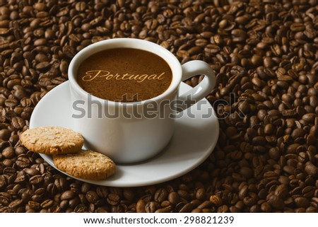 Still life photography of hot coffee beverage with text Portugal