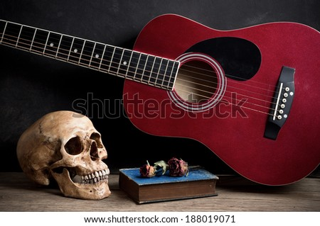 Still Life Photography Skull With Old Acoustic Guitar Book And Dry Rose On