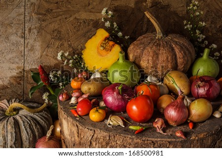 Still Life Photography with Spices and herbs on Wooden Base.