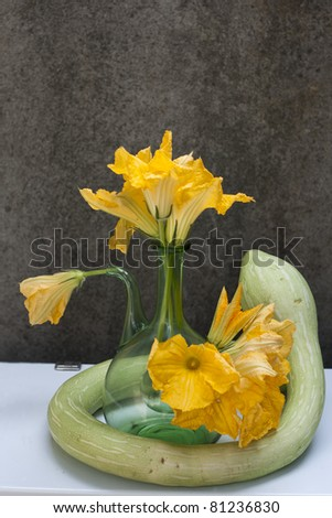 still life picture with zucchini squash and flowers