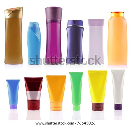 still life portrait of a group of product packaging. isolated over white - stock photo
