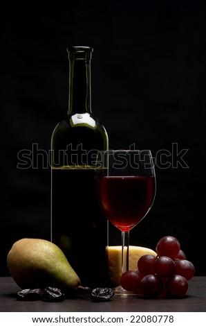 Still life - red wine - stock photo