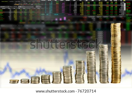 Still life shot of chart made by coin in stock board - stock photo
