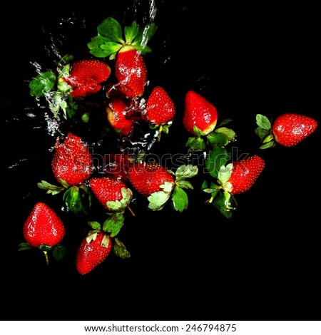 Still Life - strawberries on black background   - stock photo