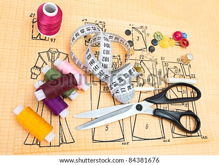 still life various sewing accessories - stock photo