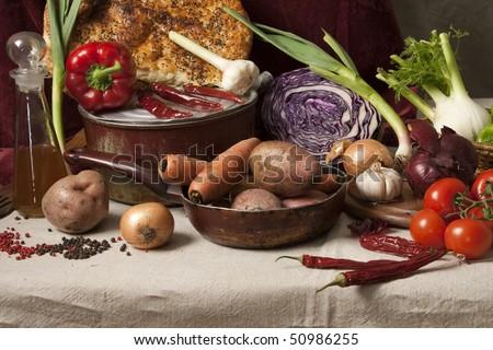"Still Life ""Vegetable Soup""; studio shot - stock photo"