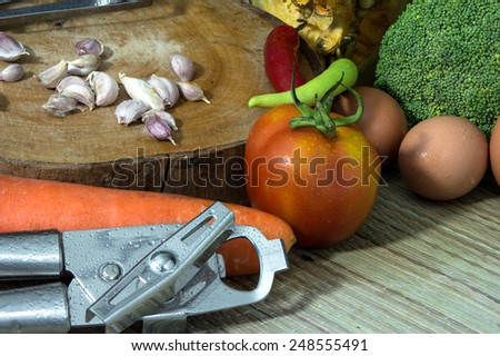 still life Vegetables and Fruit as ingredients in cooking. - stock photo