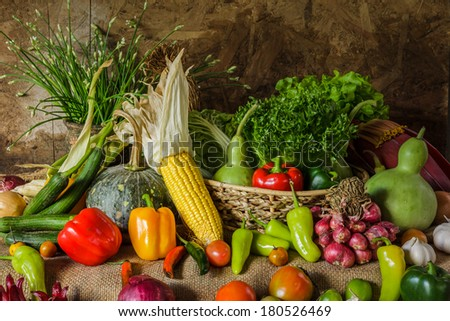 still life  Vegetables, Herbs and Fruit as ingredients in cooking.