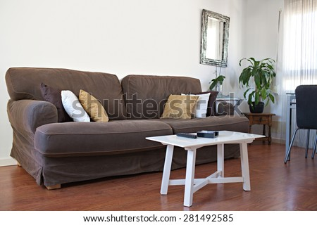 Still life view of an apartment living room with a brown sofa and a coffee table with a TV remote control in a bright home interior. Comfortable family living room view, house interior living detail. - stock photo