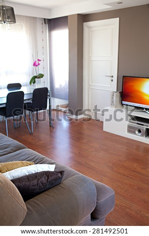 Still life view of an apartment living room with flat screen TV technology and a sofa with cushions in a bright home interior. Cozy family living room house interior and home living detail. - stock photo