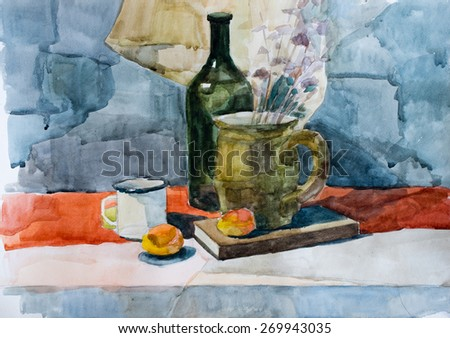 Still life, watercolor drawing canvas