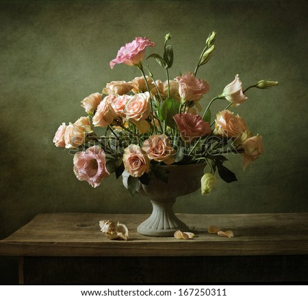 Still life with a beautiful classical bouquet of roses - stock photo