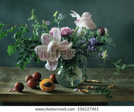 Still life with a beautiful summer bouquet - stock photo