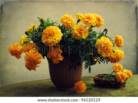 Still life with a bouquet of marigolds - stock photo
