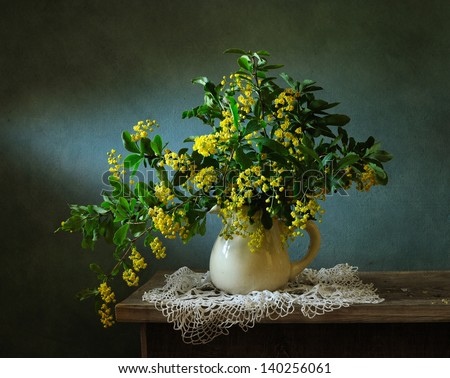Still life with a brunch blooming yellow - stock photo