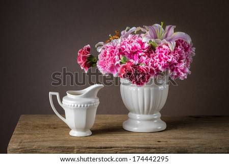 Still life with a bunch of asters - stock photo