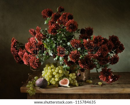 Still life with a bunch of chrysanthemums - stock photo