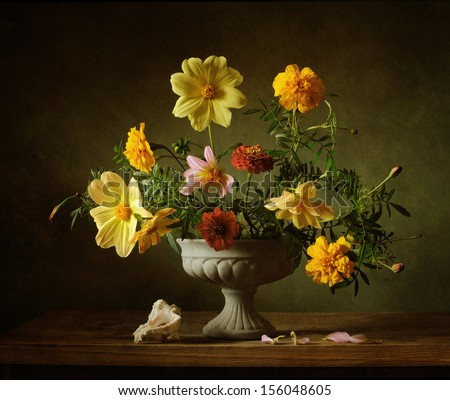 Still life with a classical bouquet of flowers - stock photo