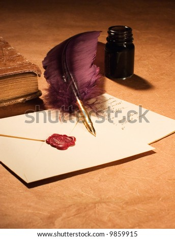 Still-life with a letter, a quill , an inkwell and a dairy - stock photo